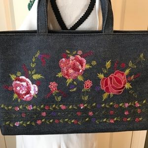 embroidered & sequined denim purse - new